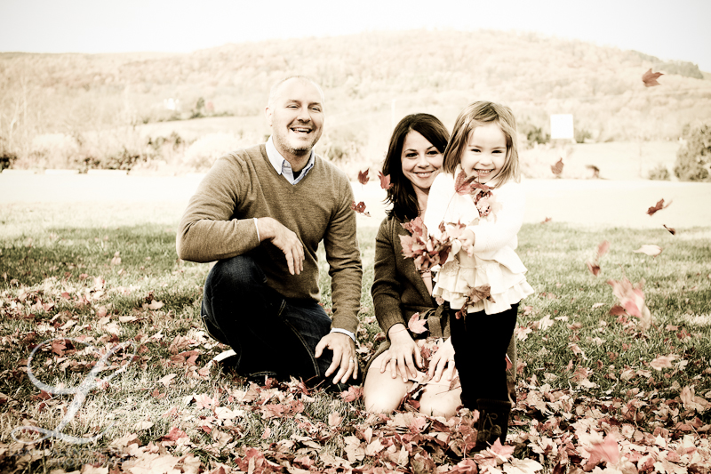 family portrait playing in the leaves in charlottesville, va