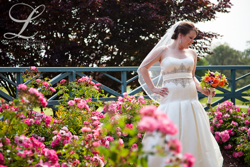 bridal portrait in gardens at Kingsmill Resort in Williamsburg, VA