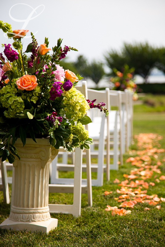 purple pink and green wedding ceremony flowers at Kingsmill Resort in Williamsburg, VA