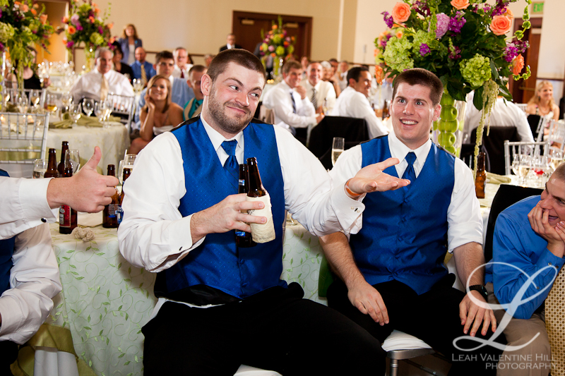 groomsman reaction to girlfriend catching the bouquet