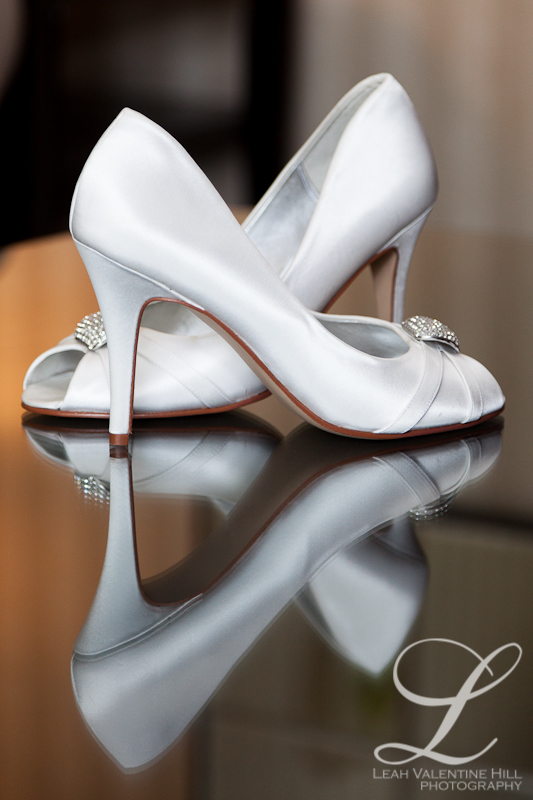 wedding shoes with reflection on table