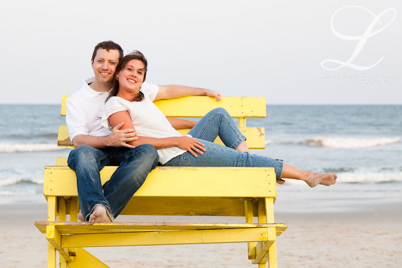 engagement portraits on the lifeguard stand on long beach island, nj