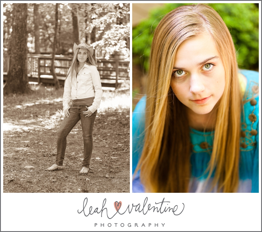 color and sepia portraits of teenage girl at wildwood park in west little rock, ar