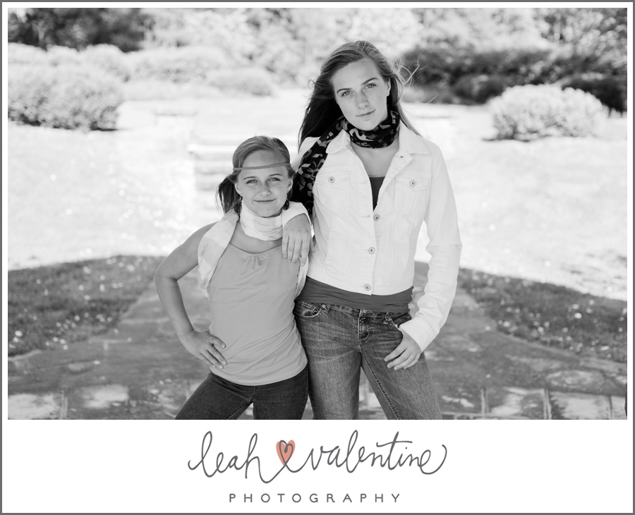 black and white portrait of sisters at wildwood park in west little rock, ar