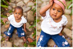 baby girl portraits on a stone path at alice keck park in santa barbara ca
