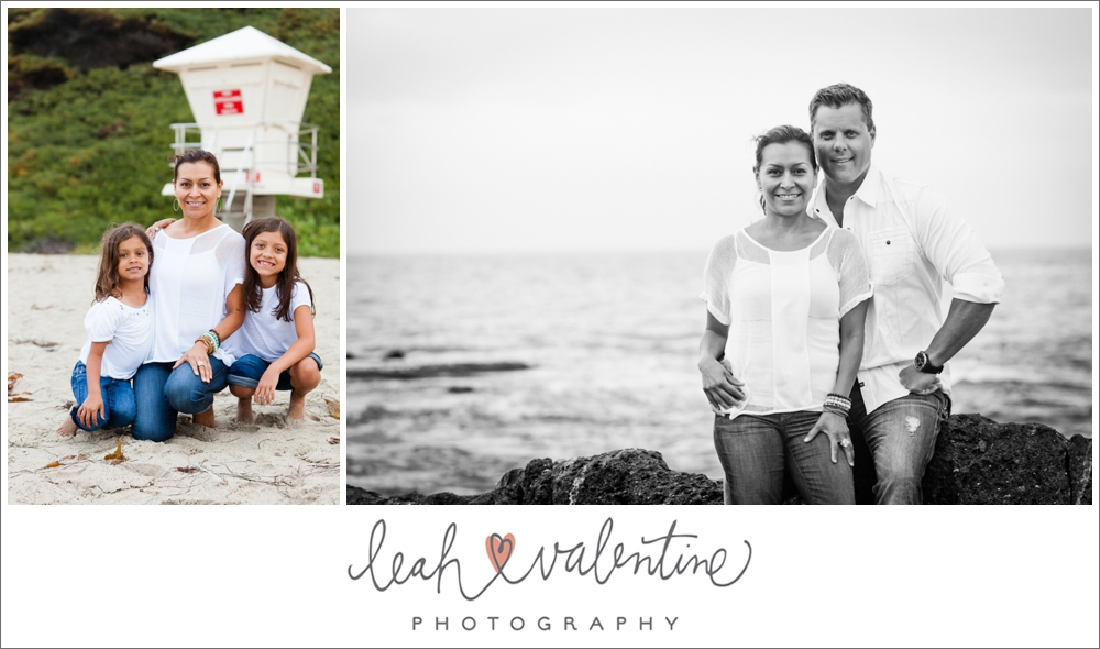 family portraits on aliso beach in laguna beach with a lifeguard stand and ocean background