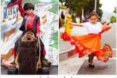 boy on a horse and dancing girl at old spanish days fiesta in santa barbara ca