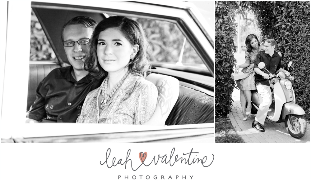 vintage black and white engagement portraits in a classic car and on a vespa in santa barbara, ca