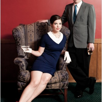 Vintage styled engagement portraits in a billards room with cocktails in santa barbara ca