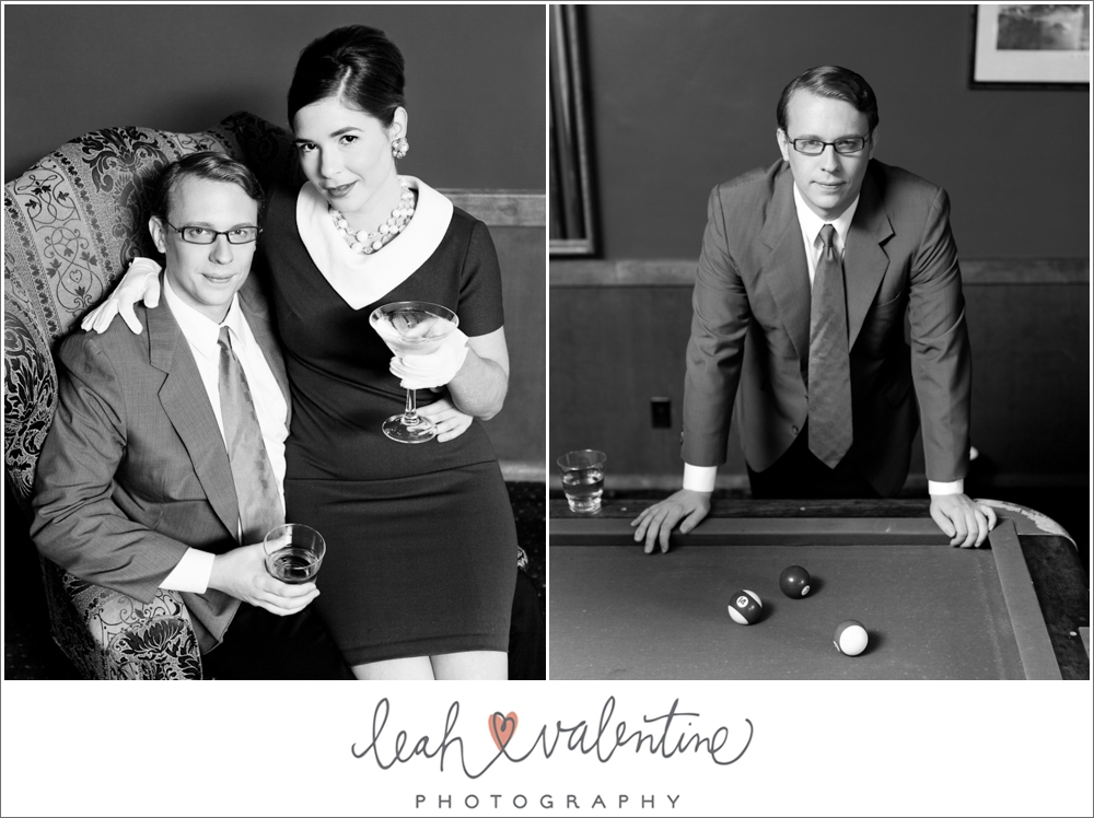 Mad Men styled engagement portraits in the billards room of the University club of santa barbara