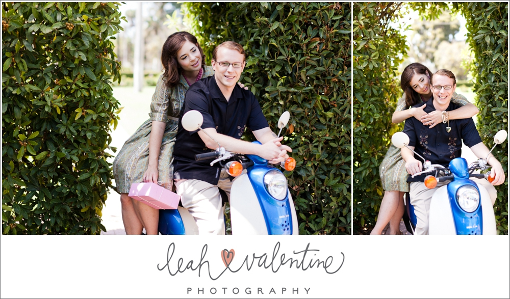 1960s styled engagement portraits on a vespa featuring vintage pastry packaging from Andersen