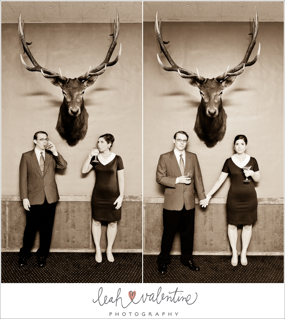 Vintage engagement portraits under a deer head in the billards room of the University Club of Santa Barbara
