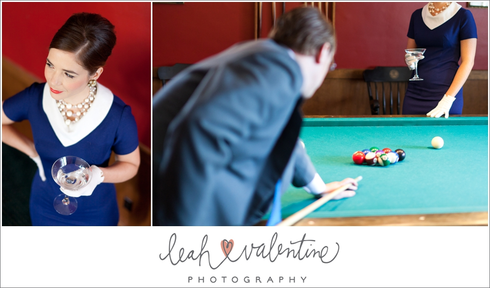 High fashion billards room engagement portraits at the University Club of Santa Barbara