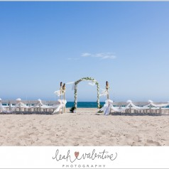 wedding ceremony setup on east beach in santa barbara, ca