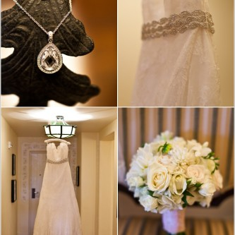 wedding gown with rhinestone sash, white flower bouquet, and tear drop crystal jewelry at the biltmore hotel in santa barbara, ca