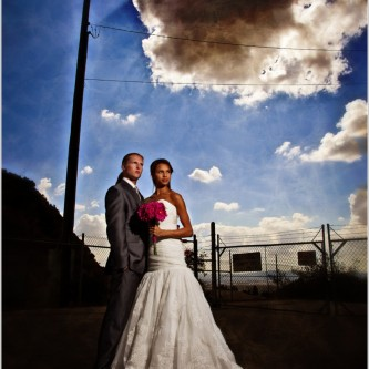 grungy bridal portraits with texture layovers and off camera flash