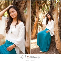 santa barbara female senior portraits in the eucalyptus grove