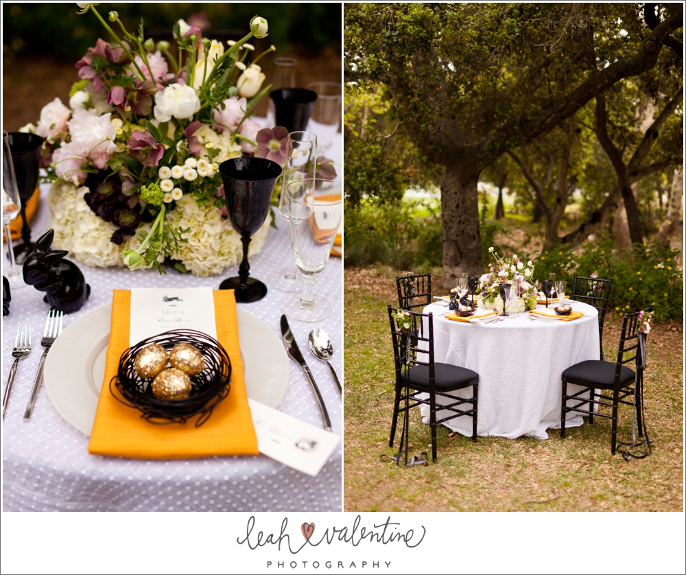modern easter table setting with orange napkins