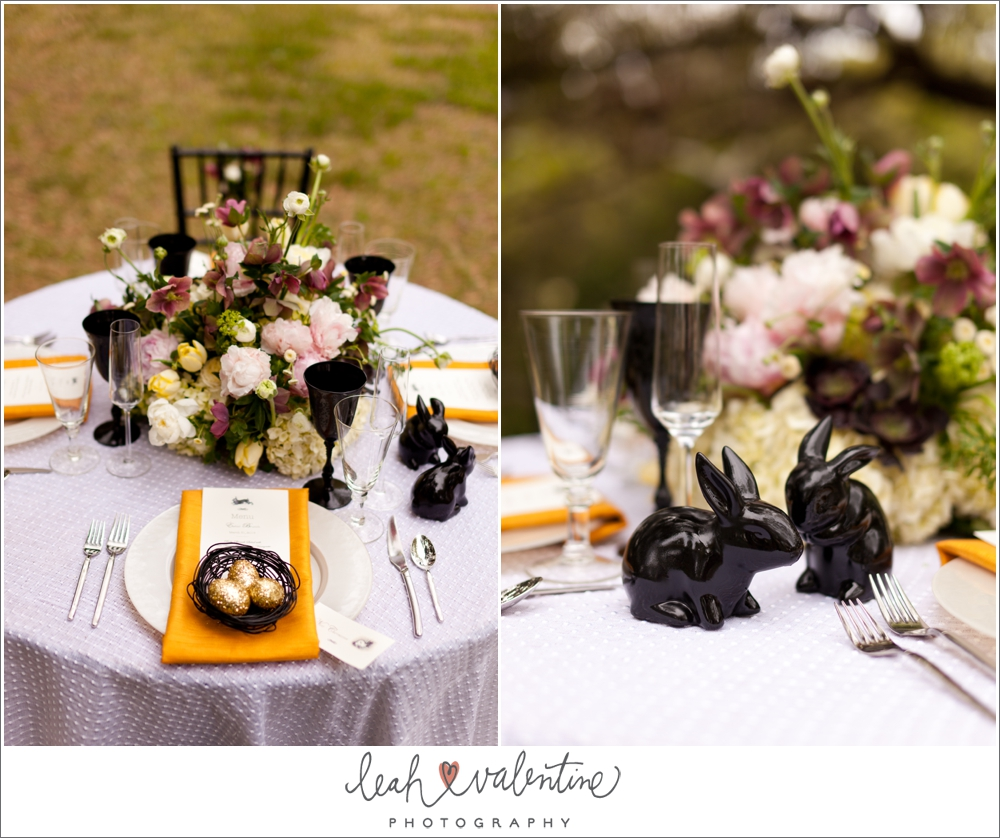 modern easter table setting with a punch of black for contrast