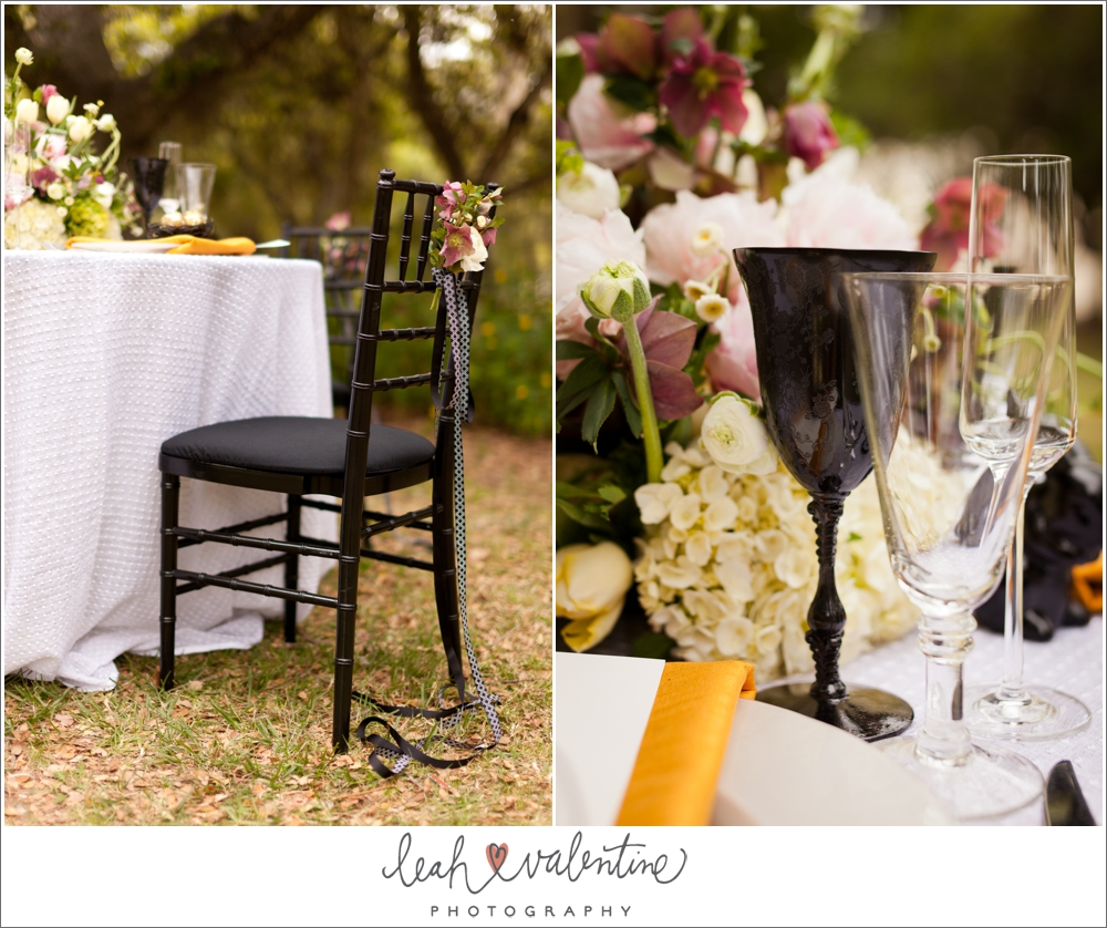 modern easter table setting with black chairs and wine glasses