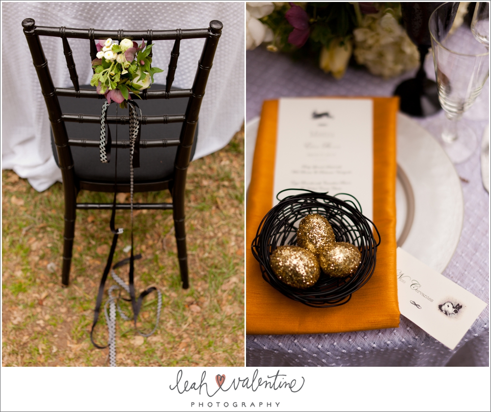 modern easter table setting with gold eggs in a basket and chair accent flowers