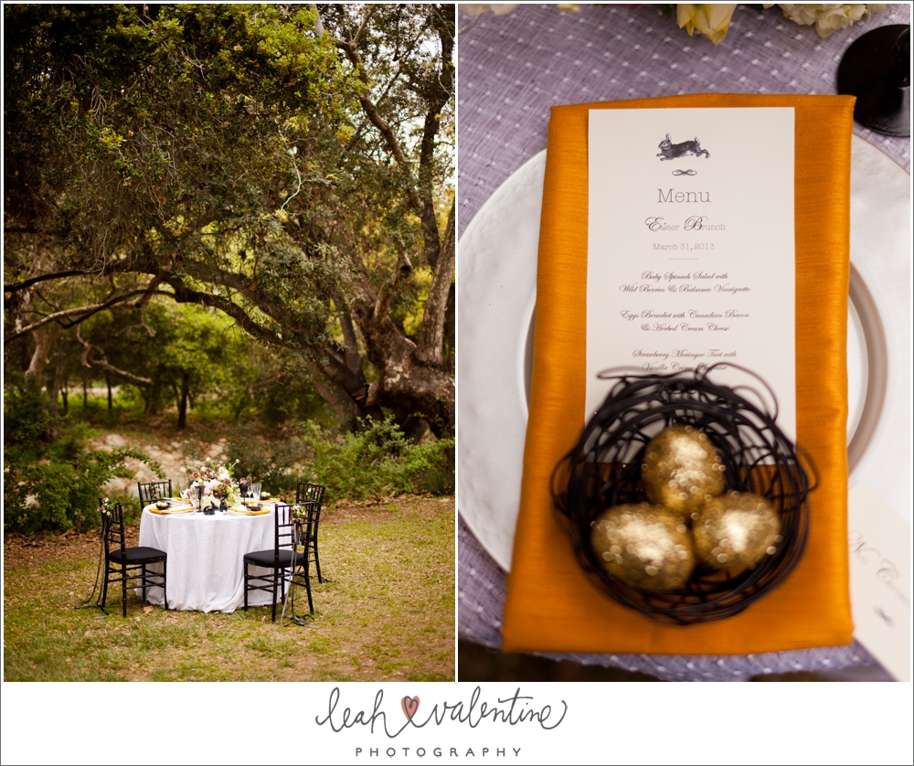 modern easter table setting with gold eggs in a basket