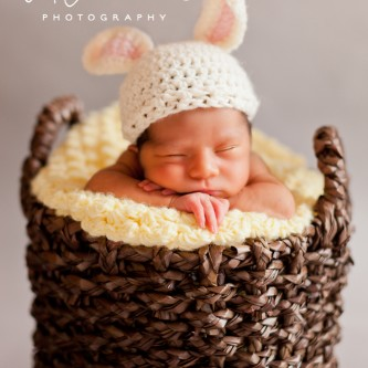 Newborn portrait of a girl in a brown basket with a yellow blanket and crochet bunny hat