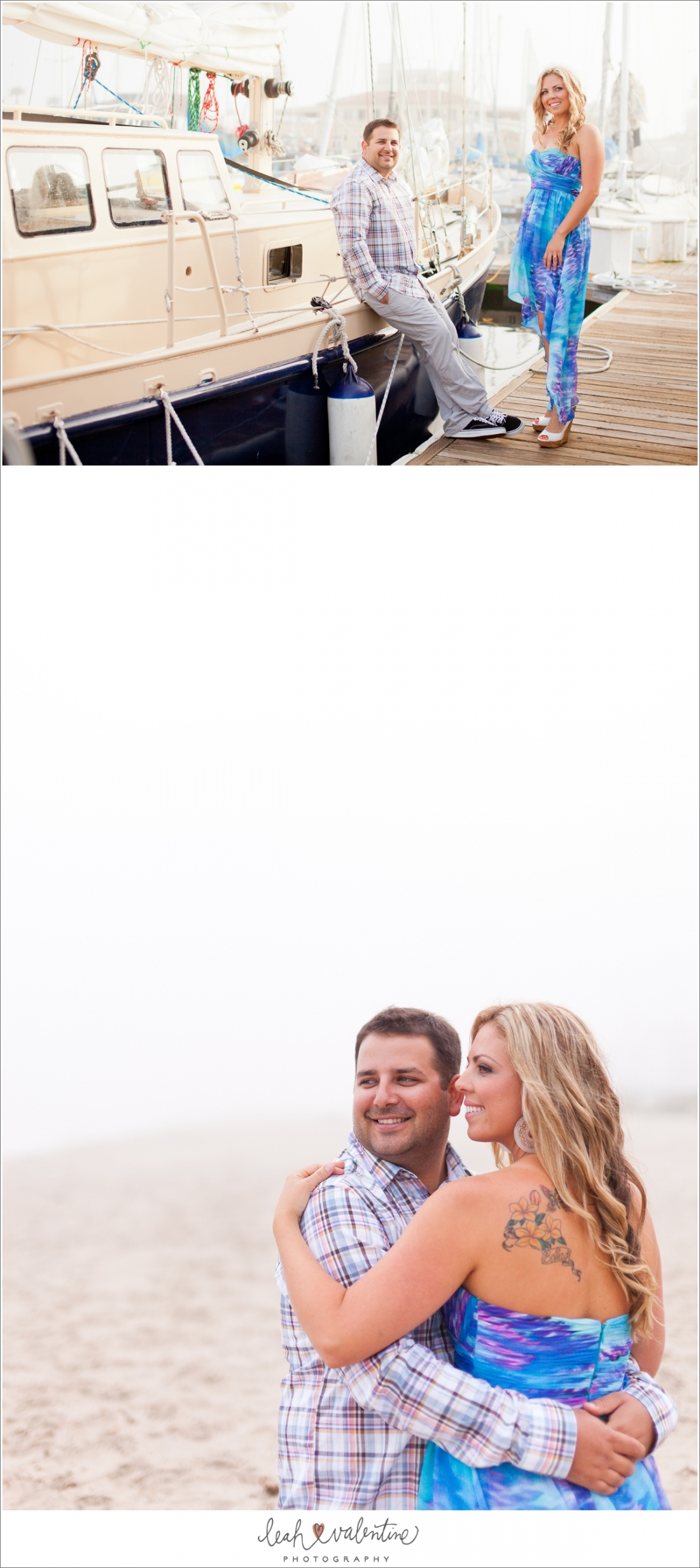 Santa Barbara Harbor and beach engagement portraits