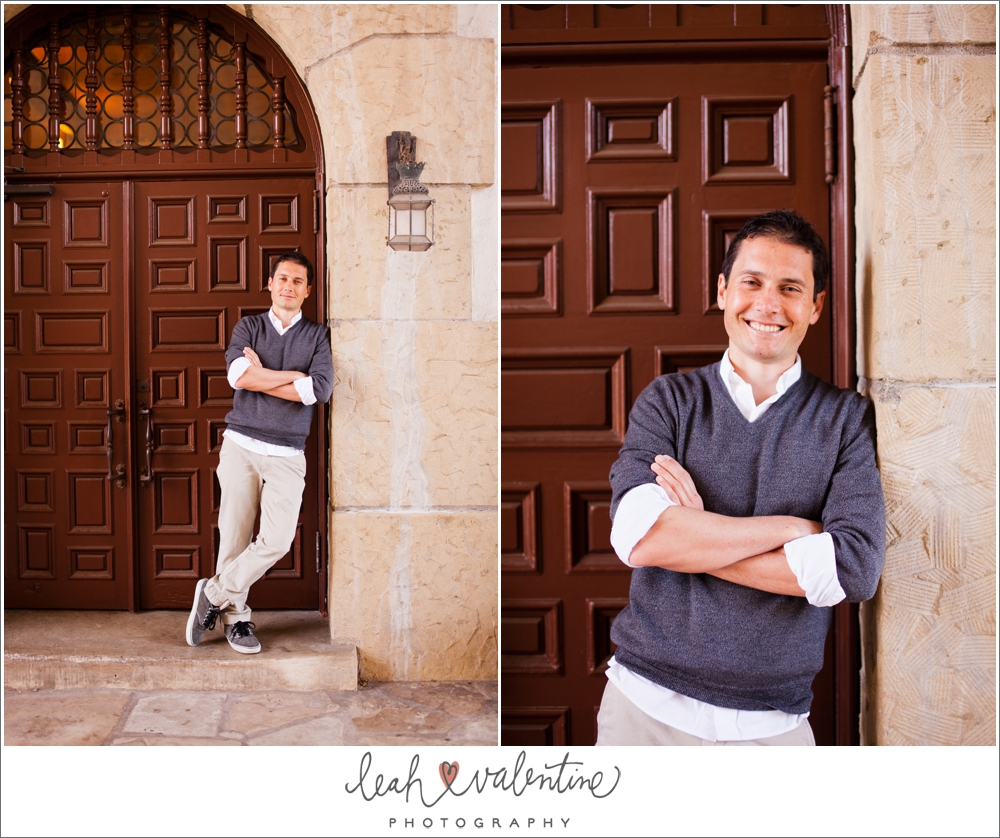 color male portrait in front of door at santa barbara courthouse