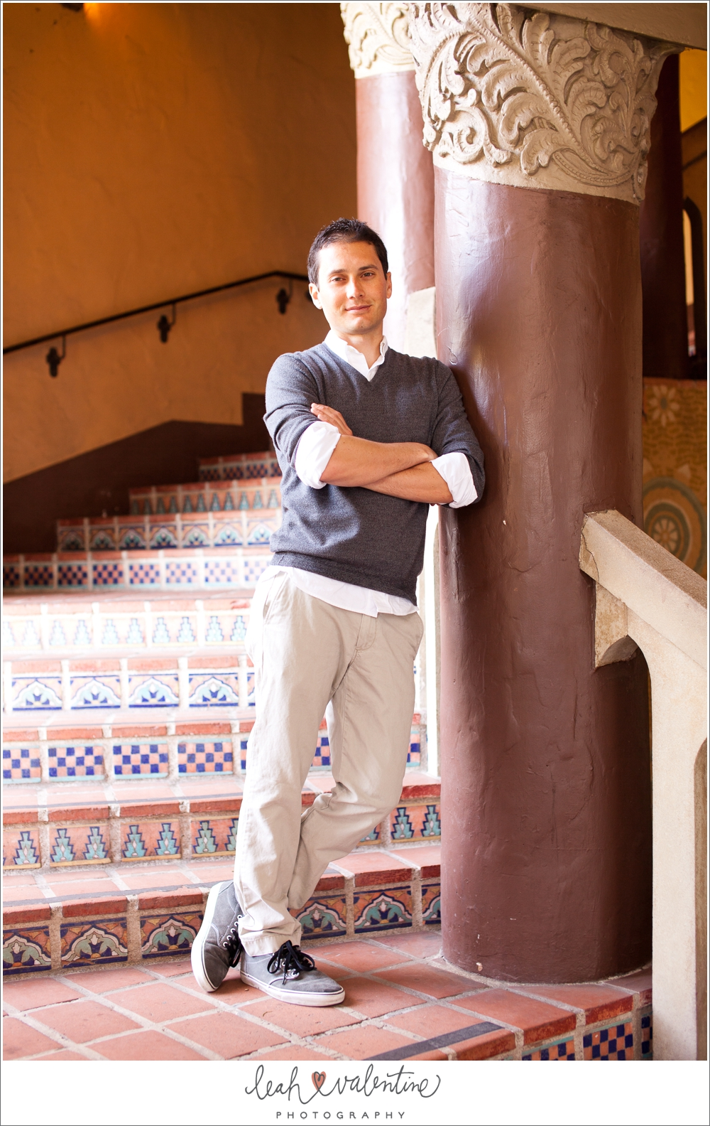 color portrait of a man on spanish steps at the santa barbara courthouse