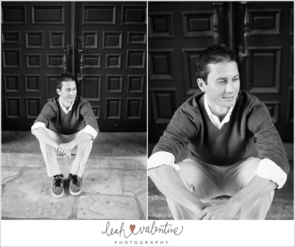 black and white male portraits on step at santa barbara courthouse