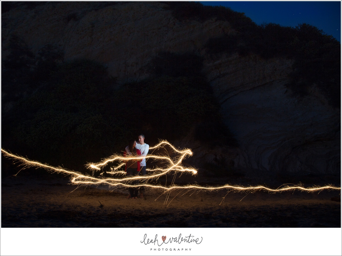 sparkler portraits at Hendry's Beach in Santa Barbara, CA