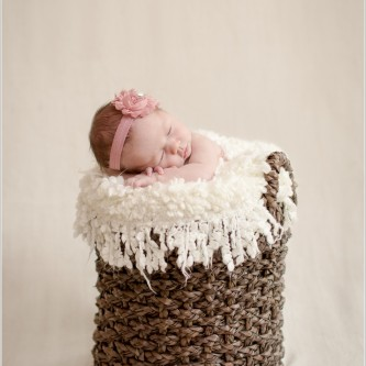 newborn girl in a brown basket with a pink headband in santa barbara, ca