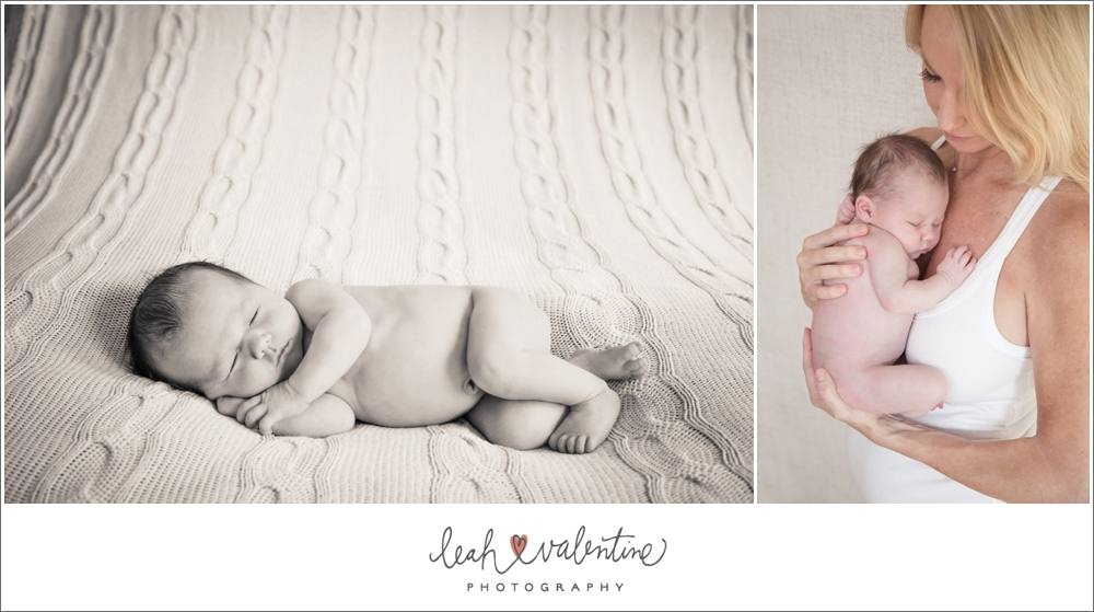 santa barbara newborn portraits - black and white on a blanket and being held by mom