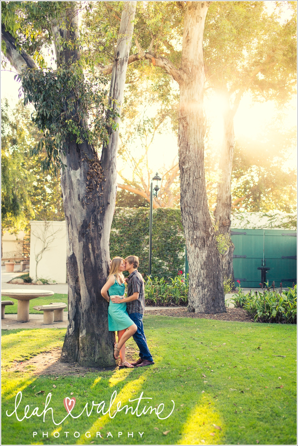 engagement portraits at chase palm park in santa barbara by leah valentine photography